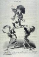 Victor Hugo et Émile Girardin cherchent a élever le prince Louis sur un pavois, ça n'est pas très solide! no. 171 of the series Actualités published in Le Charivari 11 December 1848