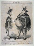 Deux futurs grands dignitaires de l'Empire, Mimi Véron et Coco Romieu no. 90 of the series Actualités published in Le Charivari 19 March 1851