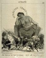Vous finirez par vous lasser de m'attaquer...pauvres petits myrmidons!... no. 247 from the series Actualités published in Le Charivari 19 November 1851
