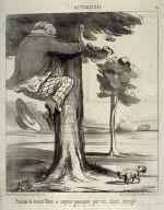 Émotion du docteur Véron se croyant poursuivi par un chien enragé no. 14 of the series Actualités published in Le Charivari 3 August 1852