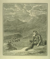 Young man in foreground in landscape