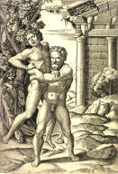 Hercules and Antaeus, after Giulio Romano (or Raphael)