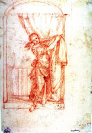 Recto:Young Woman on Balcony Lifting a Curtain Verso: Figure Composition