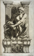 Man Subduing a Harpy, one of eight unnumbered plates of L'Enea Vagante Pitture dei Caracci (Wanderings of Aeneas Painted by the Carracci), from a set of twenty prints after the paintings by Ludovico, Annibale, and Agostino Carracci in the Palazzo Fava,Bologna