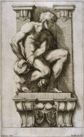 Man Subduing a Harpy , one of eight unnumbered plates of L'Enea Vagante Pitture dei Caracci (Wanderings of Aeneas Painted by the Carracci), from of a set of twenty prints after the paintings by Ludovico, Annibale, and Agostino Carracci in the Palazzo Fava, Bologna