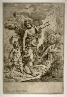 The Guardian Angel Leading a Child, reverse copy of an etching by Simone Cantarini (B.28)