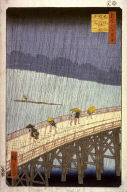 Evening Rain at Atake on the Great Bridge(Ohashi atake no yudachi), no. 52 from the series One Hundred Views of Famous Places in Edo (Meisho edo hyakkei)