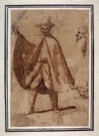 Man with Cape and Studies of Two Heads