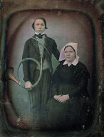 Portrait of boy and girl, boy with horn