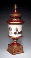 Ceramic vase with portrait of family