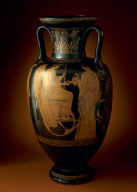 Red-Figure Neck-Amphora with the Libation of Triptolemos (A) and Two Youths Facing a Woman (B)