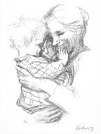 [Der Bildermann, vol. 1, no. 2 (1916), page 3, Mutter mit Kind auf dem Arm, Mother with child in her arms]