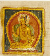 Manuscript Page with Buddha and Crowned Deity