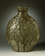 Flask (Bianhu) with a Lion Attacking an Ox