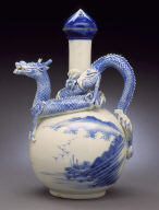 Ewer with landscape and raised dragon handle and spout; jewel-formed stopper