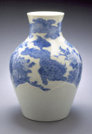 Vase with Chinese lions, peonies, and waves