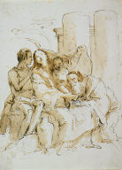 """The Holy Family with Saint John (recto); Sketches for """"Sole Figure Vestite"""" (verso)"""