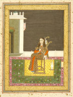 Folio from an Album Belonging to Shuja al-Daula of Oudh: European Woman Seated on a Terrace Smoking a Venetian Style Hookah