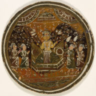 Playing Card from a Ganjifa Set: An Enthroned Four-Armed Male Deity Attended by Four Figures