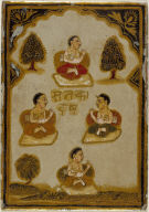 Playing Card from a Mysore Chad Ganjifa: Four Seated Monks--Four of the Sanakadaya Suit