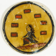 Playing Card from a Mughal Ganjifa: Seated Female--Number 7 of Barat Suit (the Gift Suit)