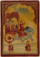 Playing Card from a Mughal Ganjifa: Carriage Drawn by a Single Elephant--King of the Gulam Suit (Slave Suit)