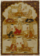 Playing Card from a Mysore Chad Ganjifa: Eight Yogis Seated on Tiger Skins--Eight of the Rsi Suit