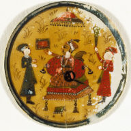 Playing Card from a Mughal Ganjifa: Seated King with Two Attending Males--King of the Barat Suit (Gift Suit)