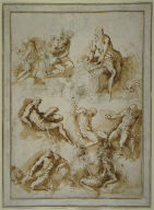 Sheet of Studies of Saint Jerome (recto); Studies of Jael and Sisera and Other Figures (verso)