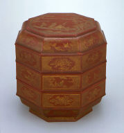 Octagonal Three-tiered Food Box (Bajiao Sanceng He) with Flowers and Cartouches Showing Scholars in Landscapes