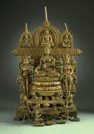 Buddhist Altarpiece with the Goddess Chunda Flanked by Tara and Bhrikuti (?) (Center), and the Transcendental Buddha Amitabha Flanked by the Bodhisattvas Vajrapani and Avalokitesvara (Top)