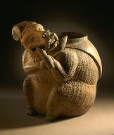 Orangeware Tripod Pot with Mask of Tlaloc