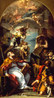 A Glory of the Virgin with the Archangel Gabriel and Saints Eusebius, Roch, and Sebastian