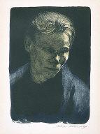[Portrait of a working-class woman with blue shawl, Brustbild einer Arbeiterfrau mit blauem Tuch]