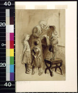 Old woman opening box while three children watch