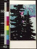 Boy sitting in top of pine tree
