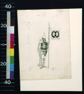 Knight holding pike with banner with initial M
