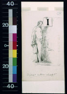 Standing man and letter I