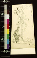 King walking with stick past tree with letter N