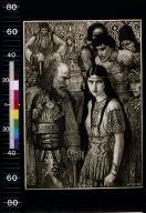 Peasants in Slav costume surround old man looking at girl