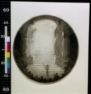 Woman with arms outstretched looking up staircase with shadowy figures at top