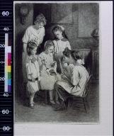 Girl teaching children to sew