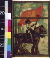 Haloed Joan of Arc (?) on horse with lion flag leading army