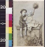 Child shepherdess and boy chimney sweep on chimney