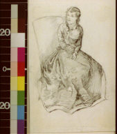 Woman in long dress seated in chair