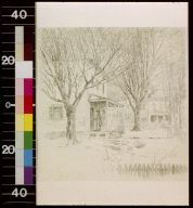 Woman standing on porch of house; snowman in the front yard