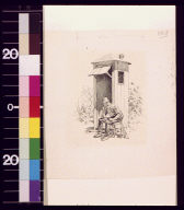 Seated railroad guard by sentry post