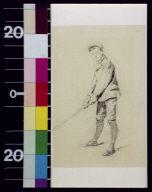 Boy in golfing stance