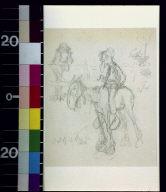 Bearded man with pipe on horseback