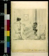 Lion in doorway looking at lady in bed